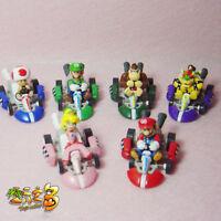 Game Super Mario Luigi Peach PVC Figure Doll Racing Car Pullback Kart Toy 6pcs