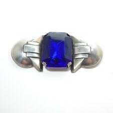 """Rare Huge BAUHAUS Authentic Art Deco Period Chrome & Blue Paste Brooch 3"""""""