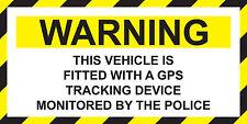 Advertencia de vehículo equipado con dispositivo de rastreo GPS Pegatina de policía 140 X 70 mm