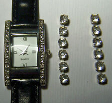 LADIES WRISTWATCH WITH 26 CRYSTALS AND BLACK LEATHER BAND + CRYSTAL EARRINGS
