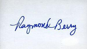 Raymond Berry Colts Signed Jsa Cert Sticker 3x5 Index Card Authentic Autograph