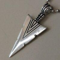 TRIBAL SPEARHEAD SPEAR LANCE ARROWHEAD Asgard God Odin Pewter Pendant W Necklace