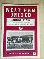 1962/63 Football League- WEST HAM UNITED v SHEFFIELD UNITED - 29th September