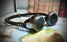 Steampunk / Dieselpunk Black Leather and Silver  Goggles - Choice of lens colour