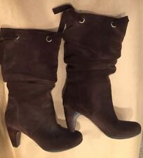 """Connie """"Chloe"""" Brown Leather Suede Slip-on High Heel Boots Shoes Size 7.5 Women"""
