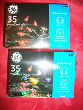 Lot of 2 Ge 35 Ct Blue Christmas Miniture Light Set - 1 Multi - 1 Red