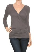 Women's Plus Size Rayon Slub Faux Wrap Top with Ruched Detail with Colors
