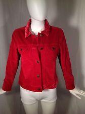 J. Jill Red Wide Wale Corduroy Button Front Jacket Velvet Trim Sz XSP Petite