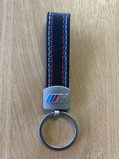 BMW M SPORT 2020 Black Braided Leather Effect Keyring Key Chain Key Ring Fob