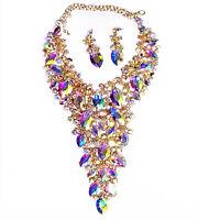 Showstopper Large Breastshield Bib Necklace Earring Set Rhinestone Crystal AB