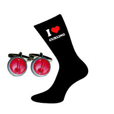 I Love Curling Socks & Curling Stone Cufflinks Gift Set X6VL017-BOC042