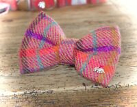 Handmade Harris Tweed Pink Dog Bow Ties For Dogs And Puppies Tweed Dickie Bow