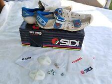 Vtg SIDI BIKE SHOES Mens Sz 8, 42 1/2 CYCLING BICYCLE SHOES - Hawaii white blue