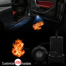 2x Car Door Flaming Fire Dragon Logo Lamp LED Laser Projector Ghost Shadow Light