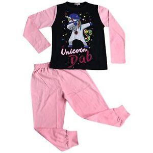 Kids Girls Designer Unicorn Dab Floss Baby Pink Pyjamas Loungewear Nightwear PJS