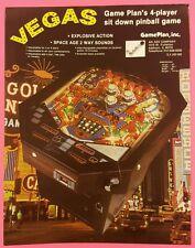VEGAS by GAMEPLAN ORIGINAL 1979 PINBALL ARCADE GAME PROMO SALES FLYER BROCHURE