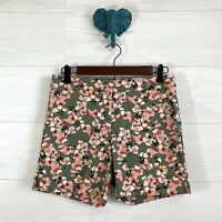 """WHBM SZ 0 5"""" Inseam Green Coral Floral Print Flat Front Trouser Modest Shorts"""