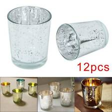 12X Glass Tea Light Candle Holders Golden Mercury Set Votive Home Party Decor