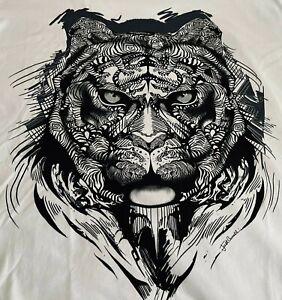 Just Cavalli Men's Large Graphic Print Logo Cotton White/Black T-shirt- NWT