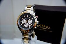 New ROTARY Men's Two-Tone Gold plated Watch Chronograph Watch RRP £180 Boxed