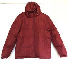 Lands End Coat Mens Medium Goose Down Puffer Jacket Pockets Hooded Red Burgundy