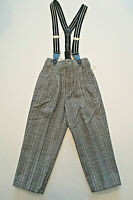 Vtg SAHARA CLUB Suspender Pants Sz 2T Boys Black Plaid Dress Slacks Hudson's NWT