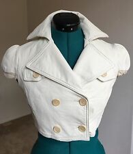 Bcbg Max Azria White Cropped Short Sleeves Genuine Leather Jacket, XS