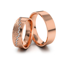 Wedding Rings Bands Gold 585 Polished/Hammerscale Rose Gold with Zirconia