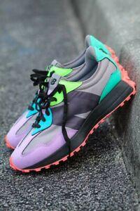 Men's New Balance 327 lifestyle Sneaker- Magnet/ Dark Violet/ Glow Green Sz 11.5