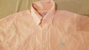 Mens Brooks Brothers Dress Shirt M Medium Orange Button Cotton