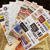 Set of 6 Vintage Style Label Travel STICKERS Holiday ScrapBooking Card Making: