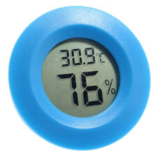 Reptile Turtle Tank Round Digital Thermometer Humidity Hygrometer Blue