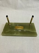 Vintage Green Onyx Marble Base Double Pen Desk Holder Set Gold tone. With Plaqe