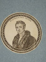 MEDAILLON MINIATURE GRAVURE PORTRAIT WASHINGTON IRVING ROMANTISME AMERICA 1820