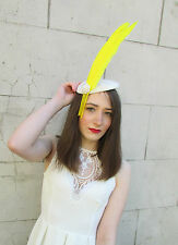 Ivory Cream Yellow Feather Fascinator Headpiece Hat Vintage Races Pearl 40s Y73