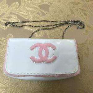 CHANEL Precision Mini Bag Pouch with Chain Strap White Pink Giveaway  18 x 10 cm
