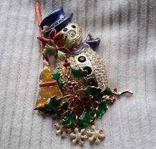 KIRKS FOLLY MULTI COLOURED ENAMELLED CRYSTAL SNOWMAN CHRISTMAS GOLD BROOCH PIN