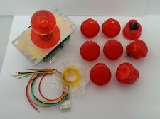 Japan Sanwa Clean Red Joystick Buttons Set of 8 OBSC-30-CR Video Game GT-Y