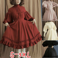 Medieval Women Pleated Lantern Sleeve Lolita Princess Dress Halloween Costume