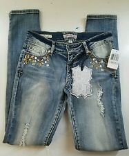HOT KISS DENIM SKINNY RIPPED JEANS JUNIORS SZ 1 NWT EMBELLISHED