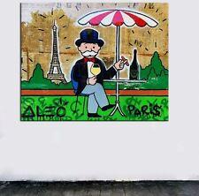 "Alec Monopoly Banksy Oil Painting on Canvas graffiti art decor Paris 12x16"""