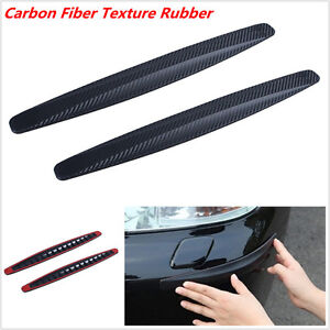 2x Car SUV Bumper Edge Lip Anti-rub Protector Carbon Fiber Texture Rubber Strips