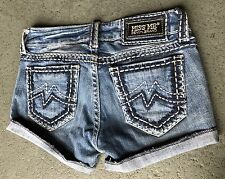 LIGHT WASH MISS ME JEAN SHORTS 26 W14 MADE PROFESSIONALLY VERY NICE SUPER CUTE