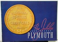 1938 Plymouth Dealer Color Sales Brochure De Luxe Models The Jubilee 10th Anniv
