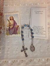 "NEW Hand-Made ""SAINT LUCY"" CHAPLET glass beads, Pewter caps Prayer bklt FRE SHPG"