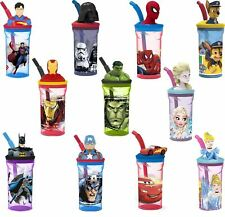 Kids 3D Figurine Character Drinking Tumbler Water Cup Bottle & Expandable Straw