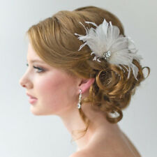 Wedding Party Women Lady Feather Hair Clip Brooch Fascinator Headpiece White