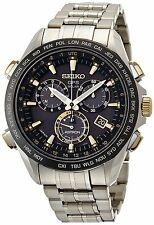 New Seiko Astron Solar GPS Chronograph Titanium Two-Tone PVD Men's Watch SSE007