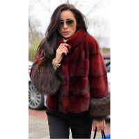 Women Gift Real Vulpes Fox Fur Cuff Full Pelt Mink Fur Coat Jacket Overcoat