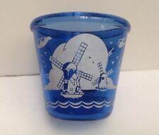 "Vintage Hazel Atlas Cobalt Blue Glass Bowl, Windmills Design, Ice bucket, 4.25"""